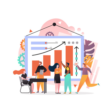 Vector illustration of big statistical dashboard with increasing bar graph and arrow, tiny office people working together interacting with charts. Business team concept for web banner, website page.