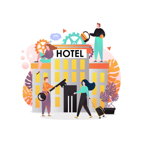 Vector illustration of hotel building, man giving big key to traveler woman with luggage. Hotel services concept for web banner, website page etc.