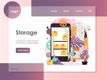 Storage vector website template, web page and landing page design for website and mobile site development. Warehouse storage app concept.