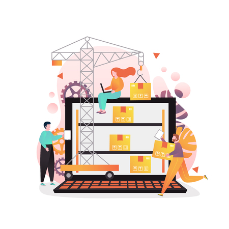 Warehouse management software concept vector illustration. Tower crane putting cardboard boxes on big laptop shelves, tiny people workers.