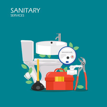 Sanitary services vector flat style design illustration. Bath tub, faucet, toilet, toolbox, plunger, water meter, pliers. Plumbing tools and equipment for web banner, website page etc.