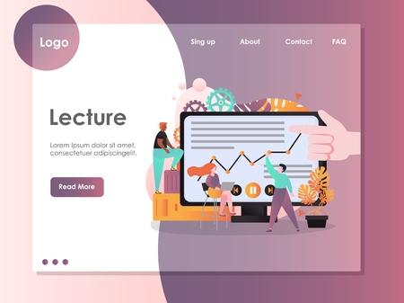 Lecture vector website template, web page and landing page design for website and mobile site development. Online education, webinar concept with business people watching video course on computer. Foto de archivo - 120798798