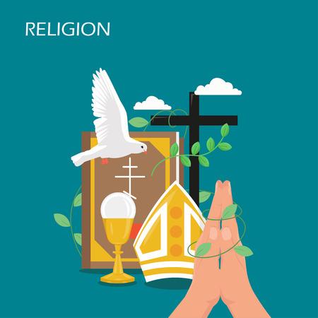 Religion vector flat style design illustration. Holy Bible, dove, praying hands, christian catholic miter, cross, holy chalice. Christianity, religious christian symbols for web banner, webpage etc.