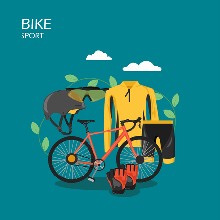Sport bike vector flat style design illustration. Bicycle, cycling apparel, protective helmet, sunglasses and gloves. Cycling clothes and bicycle equipment composition for web banner, website page etc