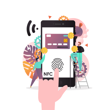 Vector illustration of big phone with NFC function used as bank card with fingerprint on screen, tiny people doing money transfer. Contactless payments, near field communication technology concept.