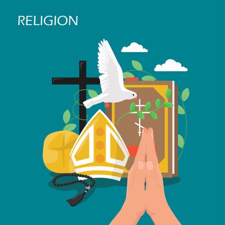 Ilustración de diseño de estilo plano de vector de religión de cristianismo