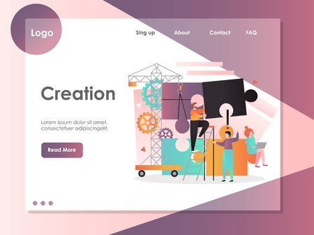 Creation vector website landing page design template