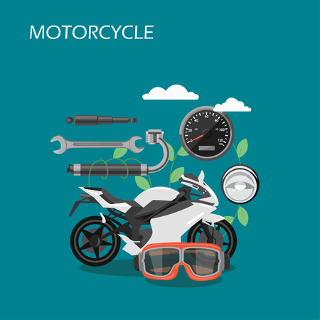 Motorcycle parts vector flat style design illustration