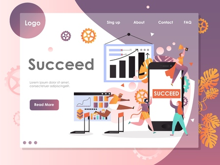 Succeed vector website template, web page and landing page design for website and mobile site development. Business competition and success concept.