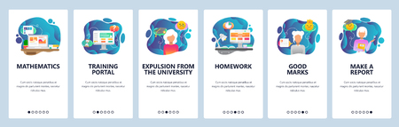 Mobile app onboarding screens. School and college education icons, math, homework, student expulsion. Menu vector banner template for website and mobile development. Web site design flat illustration.