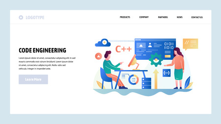 Vector web site design template. Programmer write script in C computer language. Software dvelopment and coding. Landing page concepts for website and mobile development. Modern flat illustration.