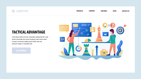 Vector web site design template. Business strategy and tactics, chess, business plan. Landing page concepts for website and mobile development. Modern flat illustration.