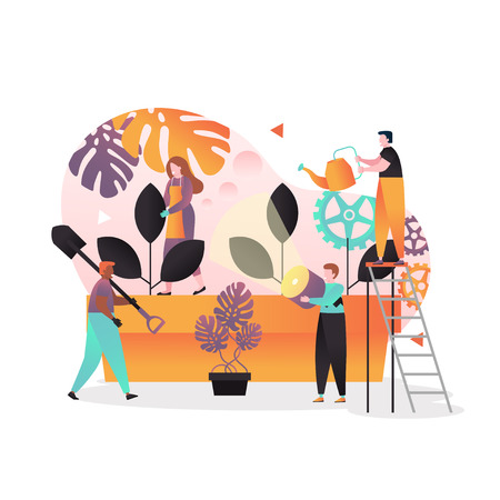 Vector illustration of tiny people gardeners growing big potted plants using garden tools such as watering can, spade etc. Spring gardening, plant care concepts for web banner, website page etc.