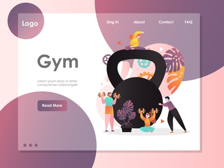Gym vector website landing page design template