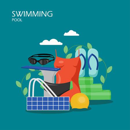 Ilustración plana de vector de piscina. Trajes de baño para mujeres y hombres, gorro de baño, chanclas, trampolín, gafas, etc. Equipo de baño y accesorios para banner web, página web, etc. Ilustración de vector