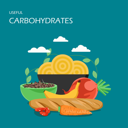 Useful carbohydrates vector flat style design illustration. Baguette, pasta, brown rice, carrot, banana, beans, beet. High-carb foods composition for web banner, website page etc.