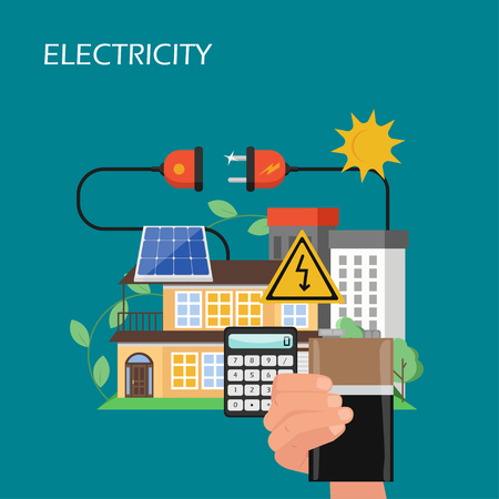 Electricity production, storage and consumption vector flat illustration. Hand holding solar energy battery, residential house with solar panel, plug. Renewable energy and green technology concept.