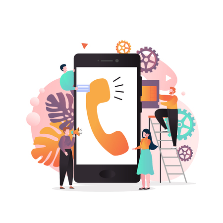 Vector illustration of big mobile phone and tiny people inserting SIM card into it, using smartphone etc. Wireless cellphone communication, SIM card technology concept for web banner website page etc.