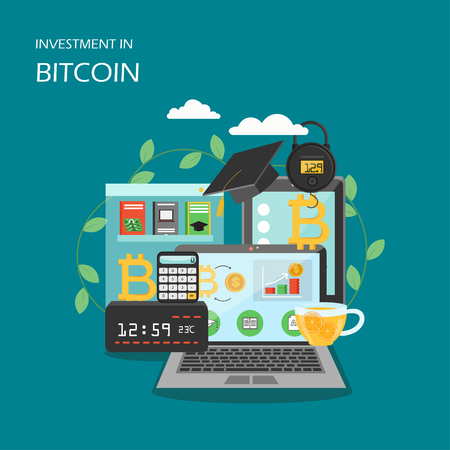 Investment in bitcoin vector flat style design illustration Stockfoto - 122109414