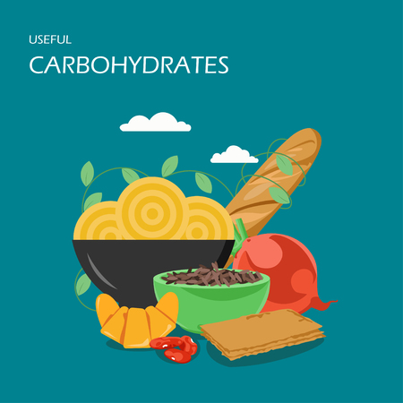 Useful carbohydrates vector flat style design illustration. Baguette, pasta, brown rice, beans, beet, french croissant. High-carb foods composition for web banner, website page etc. Illusztráció