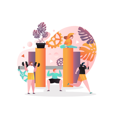 Vector illustration of big barbell and tiny people training and lifting weights. Fitness gym, weighlifting, bodybuilding concept for web banner, website page etc.