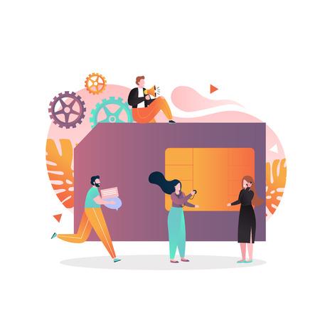 Illustration vectorielle d'une grande carte SIM de téléphone portable et de petites personnes avec mégaphone, smartphone. Réseau de téléphonie mobile, concept de communication sans fil pour bannière Web, page de site Web, etc. Vecteurs