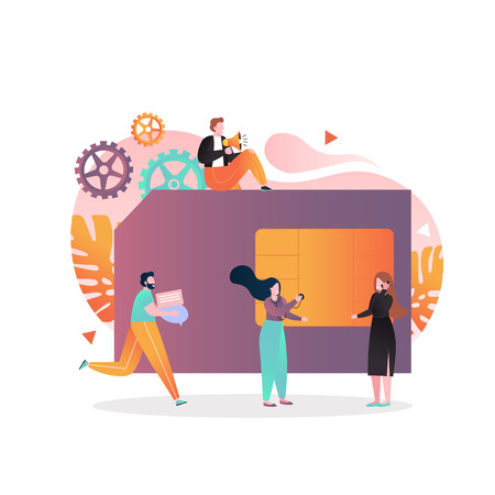 Vector illustration of big mobile phone SIM card and tiny people with megaphone, smartphone. Mobile phone network, wireless communication concept for web banner, website page etc. Vetores