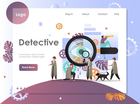 Detective vector website landing page design template