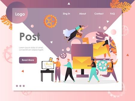 Post vector website landing page design template