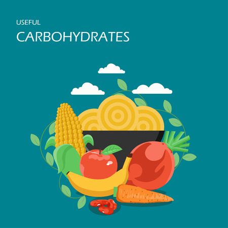 Useful carbohydrates vector flat style design illustration