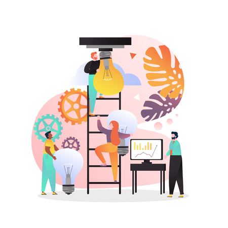 Vector illustration of tiny people climbing up ladder in order to screw in big light bulb. Way to success, career advancement, search for ideas concepts for web banner, website page etc. Illustration