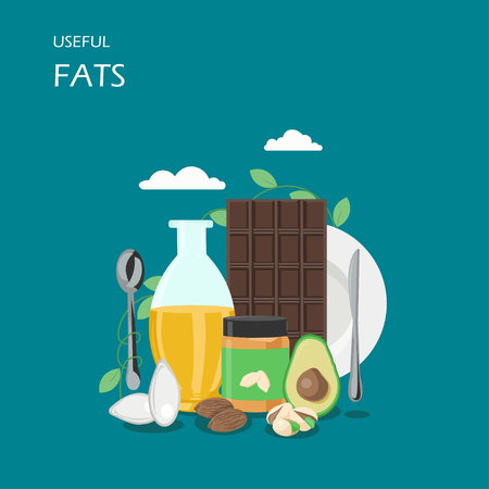 Useful fats vector flat style design illustration. Avocado, vegetable oil, dark chocolate, almonds, pistachio and peanut butter. Foods with healthy fats composition for web banner, website page etc.