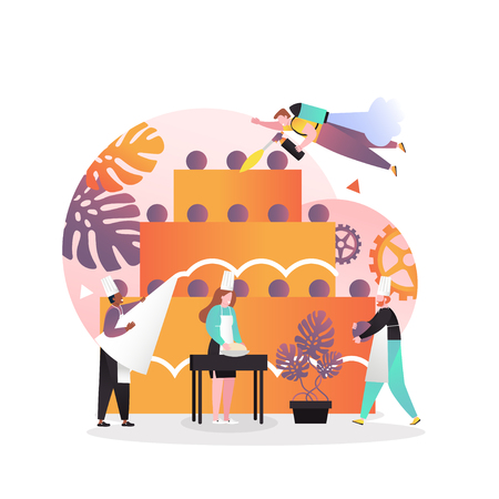 Vector illustration of huge three tiered cake and tiny people cooks chefs decorating it with cream, making dough. Bakery and confectionery services concept for web banner, website page etc. Vectores