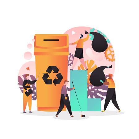 Concetto di raccolta differenziata e riciclaggio per banner web, pagina web