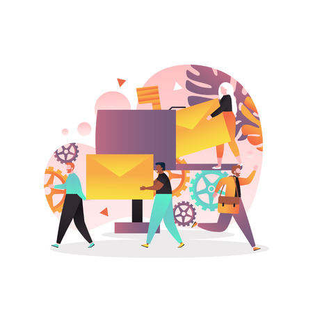Vector illustration of tiny people carrying big envelopes, postman running with postbag. Post office, postal service, correspondence delivery concept for web banner, website page etc.