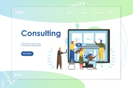 Consulting vector website template, web page and landing page design for website and mobile site development. Business consulting services, software for consultants concept. Illustration