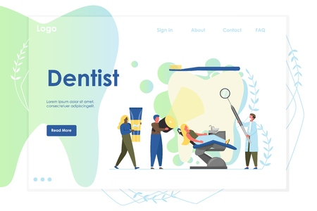 Dentist vector website template, web page and landing page design for website and mobile site development. Medical dental checkup, tooth treatment, oral health, professional dental care concept. Illusztráció