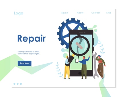 Repair vector website template, web page and landing page design for website and mobile site development. Mobile phone repair, fix phone screen services concept.