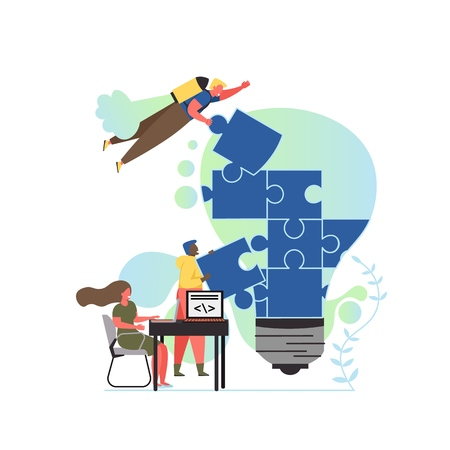Idea creation, vector flat style design illustration. Tiny business people doing huge light bulb jigsaw puzzle together. Creative process of idea generating, developing, solution collaboration concept Vetores