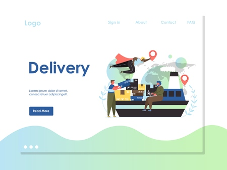 Delivery vector website template, web page and landing page design for website and mobile site development. Global logistics, maritime shipping concept.