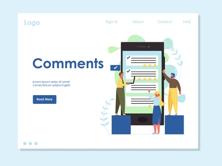 Comments vector website template, web page and landing page design for website and mobile site development. Social media posting concept.