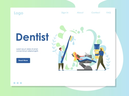 Dentist vector website template, web page and landing page design for website and mobile site development. Dental clinic services, oral healthcare, tooth treatment and whitening concept. 向量圖像