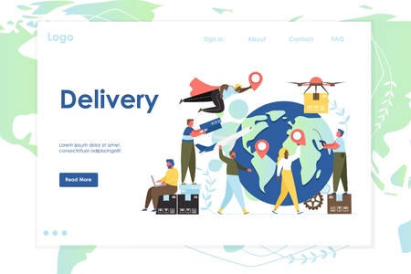 Delivery vector website template, web page and landing page design for website and mobile site development. Global logistics, international air shipping concept.