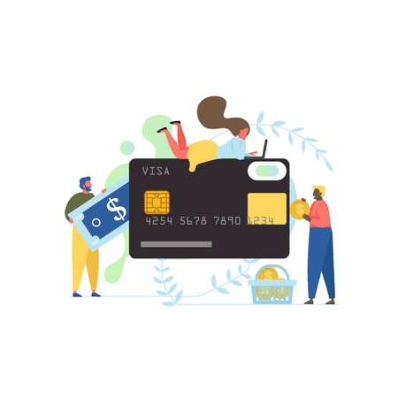 Money transfer service, vector flat illustration. Big bank card and tiny people with dollar coin and banknote. Send and receive money online, internet banking concept for web banner, website page etc.  イラスト・ベクター素材