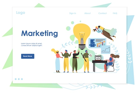 Marketing vector website template, web page and landing page design for website and mobile site development. Digital marketing team, business promotion and solution concept.