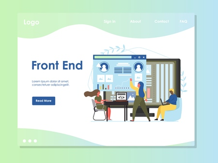 Front end vector website template, web page and landing page design for website and mobile site development. Web design software development process.
