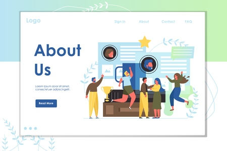 About us vector website template, webpage and landing page design for website and mobile site development. Company page with organizational profile, contact information, business history, achievements