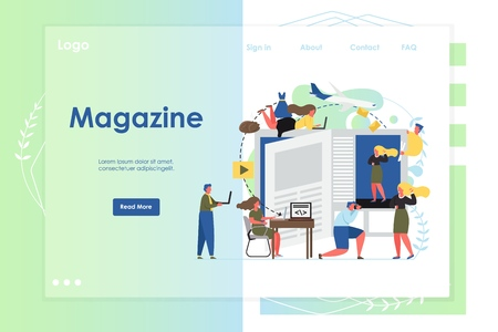 Magazine vector website template, web page and landing page design for website and mobile site development. Magazine reader app concept with professional photographer taking photo of model girl.