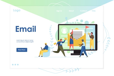 Email vector website template, web page and landing page design for website and mobile site development. Online communication, email marketing, digital message concept.