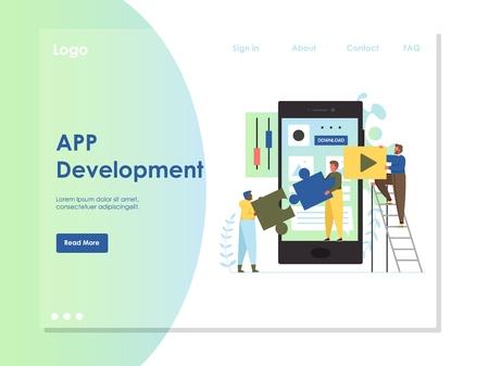 App development vector website landing page design template Illustration